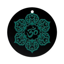 Teal Blue and Black Lotus Flower Yoga Om Ornament