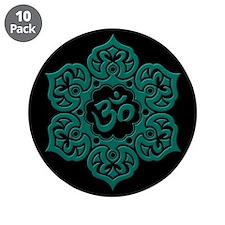 "Teal Blue and Black Lotus Flower Yoga Om 3.5"" Butt"