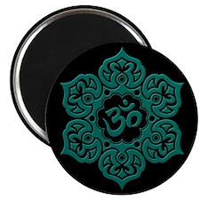 Teal Blue and Black Lotus Flower Yoga Om Magnets