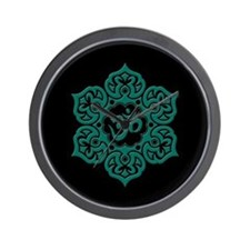 Teal Blue and Black Lotus Flower Yoga Om Wall Cloc