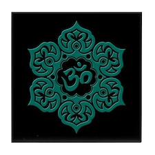 Teal Blue and Black Lotus Flower Yoga Om Tile Coas