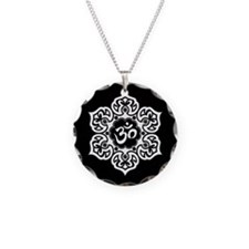 White and Black Lotus Flower Yoga Om Necklace