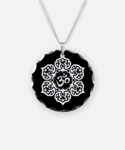 White and Black Lotus Flower Yoga Om Necklace Circ