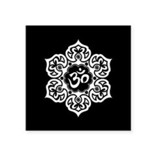 White and Black Lotus Flower Yoga Om Sticker