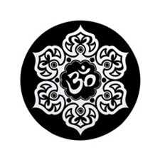 """White and Black Lotus Flower Yoga Om 3.5"""" Button ("""