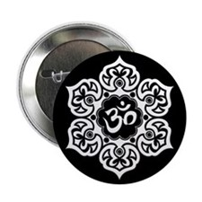 """White and Black Lotus Flower Yoga Om 2.25"""" Button"""