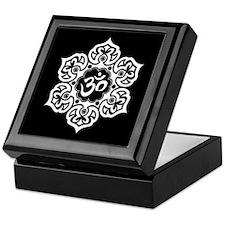 White and Black Lotus Flower Yoga Om Keepsake Box