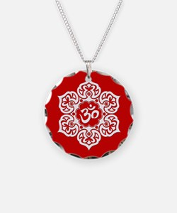 White and Red Lotus Flower Yoga Om Necklace Circle
