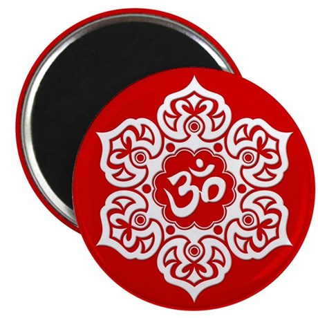 White and Red Lotus Flower Yoga Om Magnets