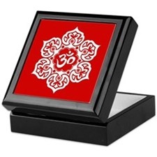 White and Red Lotus Flower Yoga Om Keepsake Box
