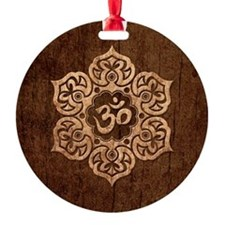 Lotus Flower Yoga Om with Wood Grain Effect Ornament