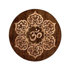"Lotus Flower Yoga Om with Wood Grain Effect 3.5"" B"