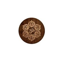 Lotus Flower Yoga Om with Wood Grain Effect Mini B