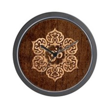 Lotus Flower Yoga Om with Wood Grain Effect Wall C