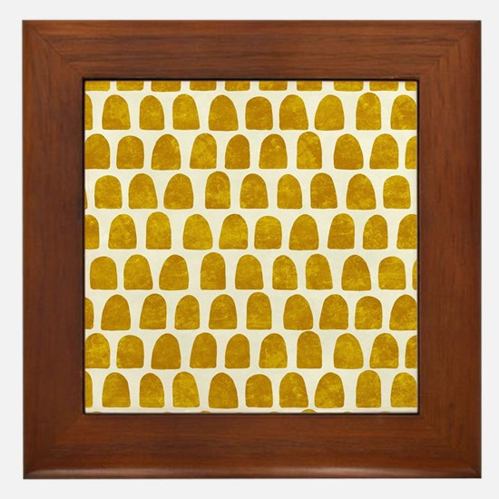 Gold Leaf Mustard Yellow Dot pattern Framed Tile