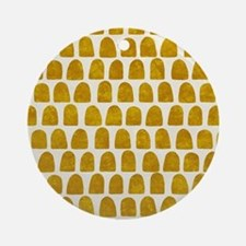 Gold Leaf Mustard Yellow Dot patter Round Ornament