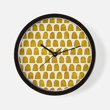 Gold Leaf Mustard Yellow Dot pattern Wall Clock