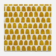 Gold Leaf Mustard Yellow Dot pattern Tile Coaster
