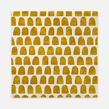 Gold Leaf Mustard Yellow Dot pattern Queen Duvet
