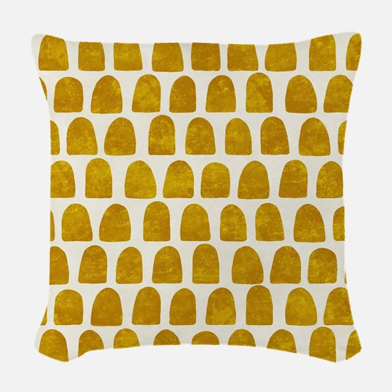Gold Leaf Mustard Yellow Dot p Woven Throw Pillow
