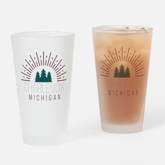 Charlevoix Michigan Drinking Glass