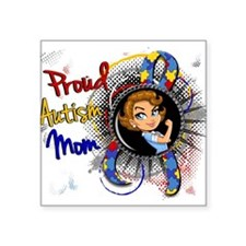 "Autism Rosie Cartoon 1.1 Square Sticker 3"" x 3"""