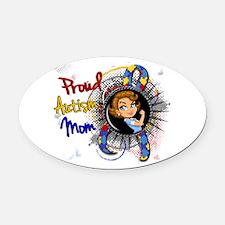Autism Rosie Cartoon 1.1 Oval Car Magnet