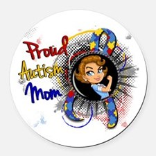 Autism Rosie Cartoon 1.1 Round Car Magnet