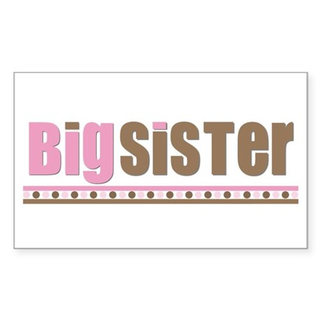 big sister pink brown Rectangle Sticker