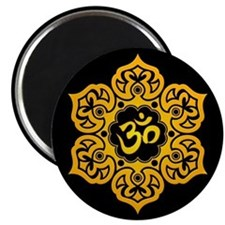 Yellow and Black Lotus Flower Yoga Om Magnets