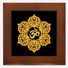 Yellow and Black Lotus Flower Yoga Om Framed Tile