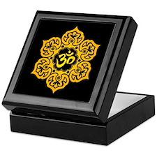Yellow and Black Lotus Flower Yoga Om Keepsake Box