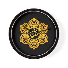 Yellow and Black Lotus Flower Yoga Om Wall Clock