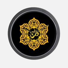 Yellow and Black Lotus Flower Yoga Om Wall Clock