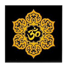 Yellow and Black Lotus Flower Yoga Om Tile Coaster