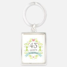 43rd Anniversary flowers and hea Portrait Keychain