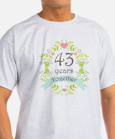 43rd Anniversary flowers and hearts T-Shirt