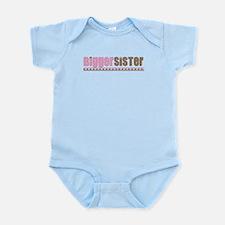 bigger sister pink brown Infant Bodysuit