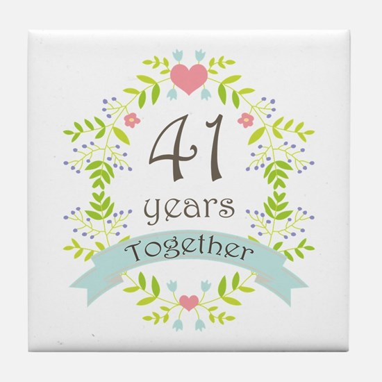 41st Anniversary flowers and hearts Tile Coaster
