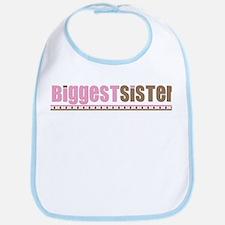 biggest sister pink brown Bib