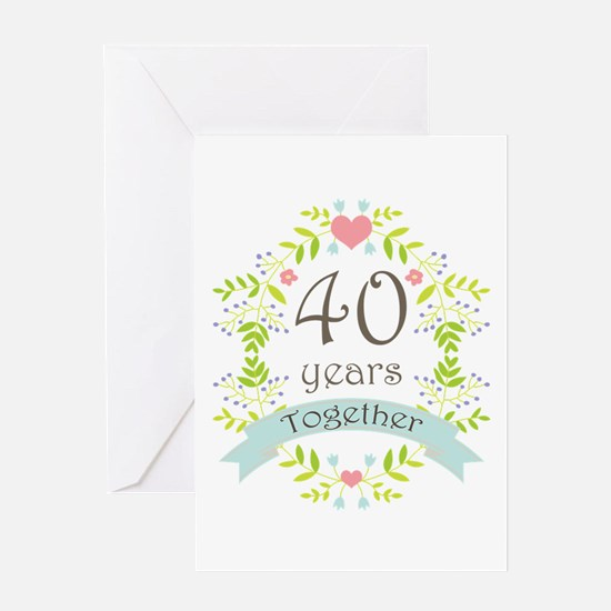 40th Anniversary flowers and hearts Greeting Card