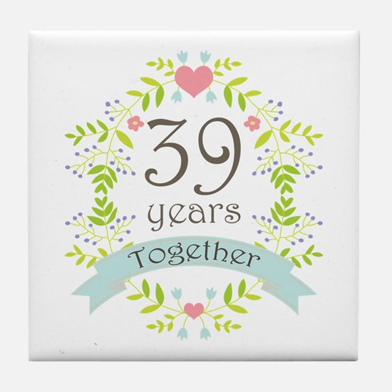 39th Anniversary flowers and hearts Tile Coaster