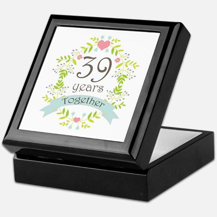 39th Anniversary flowers and hearts Keepsake Box