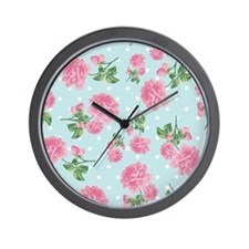 Pink Roses on mint Wall Clock
