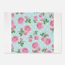 Pink Roses on mint 5'x7'Area Rug