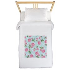 Pink Roses on mint Twin Duvet