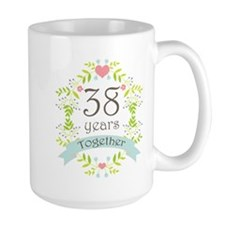 38th Anniversary flowers and hearts Mug
