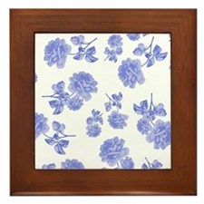 Blue Roses on white Framed Tile
