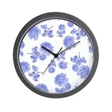 Blue Roses on white Wall Clock