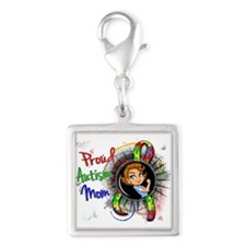 Autism Rosie Cartoon 1.2 Silver Square Charm